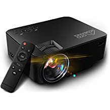 Video Proyector 1080P HD, GooBang Doo T20 Multimedia Portátil Mini Entretenimiento en Casa LED LCD Proyector 1500 Lúmenes 800x480p Apoyar PC Laptop PS4 XBOX DVD y Android TV Box etc, Negro
