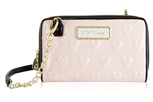 t Raised Heart Crossbody Wallet On A String Purse Bag - Blush (Crossbody Betsey Johnson)