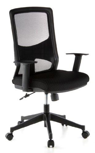hjh OFFICE 653100 Bürostuhl Drehstuhl LAVITA Netzstoff schwarz/schwarz, gute feste Polsterung, langlebiger Netzrücken, höhenverstellbare Armlehnen, Schreibtischstuhl ergonomisch, Büro Sessel