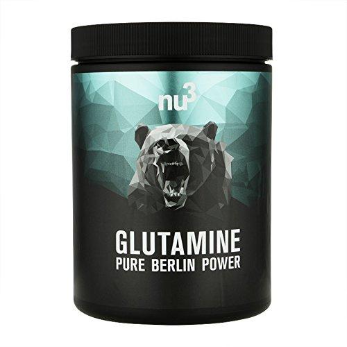 nu3 L-Glutamine – 500 g Pulver in der Dose – Geschmack Unflavoured – unverzichtbare Aminosäuren für Kraftsportler – mit ca. 20% höchster Anteil im Aminosäure Pool – Vegan und aus gentechnkfreien Mais