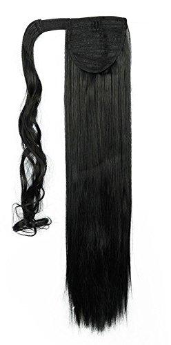 erdeschwanz Glatt Haarverlängerung 66cm natürlich Haar Ponytail div. Farben - Dunkelschwarz (Waschbar Haar-spray-farbe)