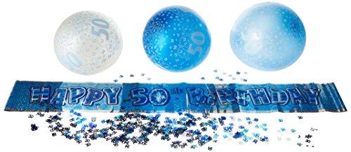 Dekorations-Set für die Geburtstagsparty, anlässlich des 50. Geburtstags, mit Spruchbändern, glitzerndes Blau
