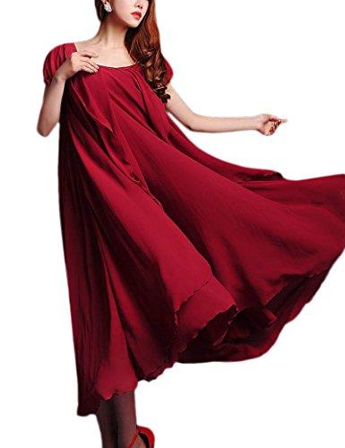 Élégantes Swing Simple Maxi robe femmes avec ceinture red