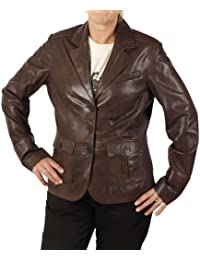 Kurzer antikbrauner Leder-Blazer mit Perforierungsdetail
