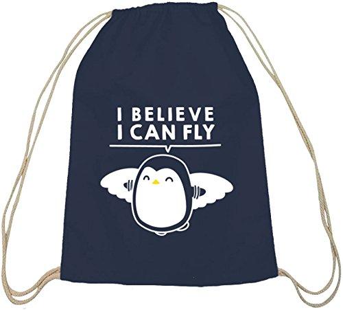 Lustiger natur Turnbeutel I Believe I Can Fly dunkelblau natur