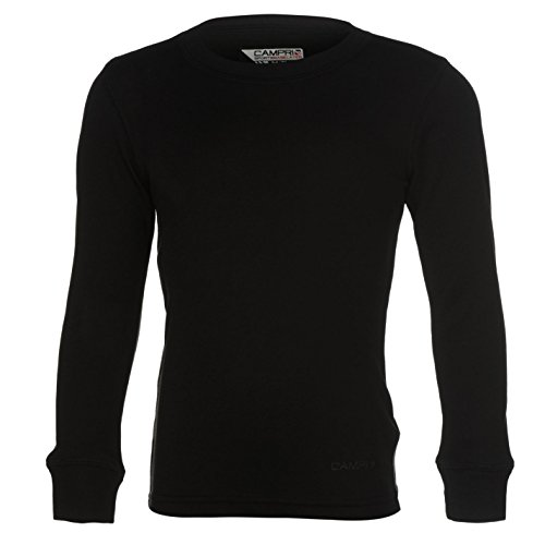 Campri Kinder Jungen Thermal Baselayer Shirt Langarm Rundhals Thermoshirt Schwarz 5-6 Yrs (Shirt Baumwolle-crew Thermal)