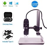 Jiusion HD 2MP USB Digital Microscope 50–1000X Portable Magnification Endoscope Camera with 8 LEDs Aluminum Alloy Stable Stand for OTG Android Mac Windows 7 8 10 Linux