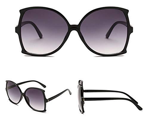 WSKPE Sonnenbrille Übergroße Schmetterling Frame Sonnenbrillen Gradient Objektiv Quadrat Schattierungen Uv400 Schwarzen Rahmen Doppelter Grauer Linse