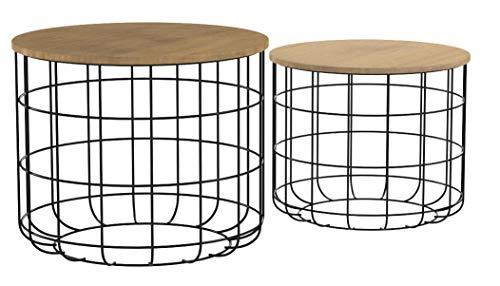 LIFA LIVING Runde Couchtische im 2er Set, 2 Beistelltische aus schwarzem Metall und MDF-Holz, Vintage-Stil & Industrie-Stil mit Korbfunktion, bis zu 20kg Belastbarkeit, Ø 40 x 36 cm, Ø 50 x 40 cm