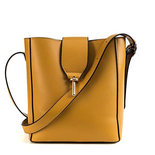 Breiter Schultergurt Volltonfarbe Bucket Bag Yellow W22H25D12 cm