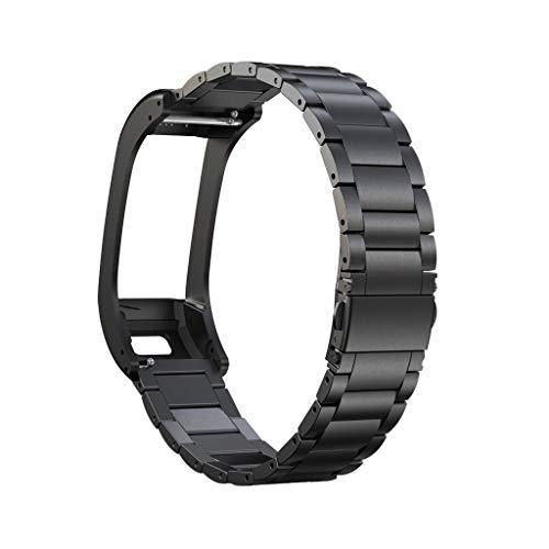 Armband für Garmin VIVOsmart HR+, BJJH Solid Edelstahl Zubehör Band Ersetzerband Uhrenarmband Für Garmin VIVOsmart HR+ Smartwatch, Damen Herren (Schwarz)