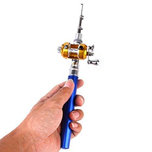 Honearn Tragbare Mini-Taschenangel, Stiftform, Aluminium-Legierung, Angel mit Rollenkombinationen (blau)