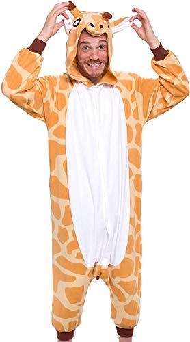 Pinguin Kostüm Strampelanzug - Memoryee Unisex Erwachsene Pyjamas - Plüsch Kostüm Party Cosplay Tier Giraffe Kostüm Idee/Gestreiftes gelb/XL