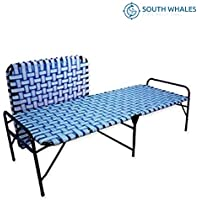 South Whales Single Folding Platform Bed | Portable Bed for Sleeping | Beds for Guest | Camp Bed | Tool-Free Assembled | Under-Bed Storage - Random Color