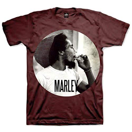 Bob Marley Smokin Circle offizielles Herren Neues Red T Shirt, Rot (Dark Red), XXL -