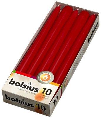 BOLSIUS 10Kerzen, Tropfsicher, kegelförmig, 25cm, 7,5Stunden Brennzeit, weinrot