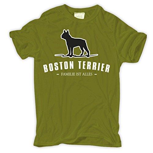 Spaß kostet Männer und Herren T-Shirt Boston Terrier - Familie ist Alles Moosgrün