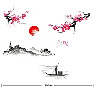 Sakura Japanese Style Cherry Blossom Wall Art Stickers Beautiful Landscape Sunset Decal Mural Deco