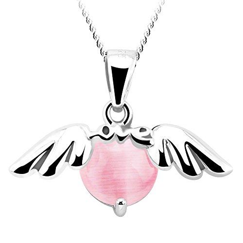 FANSING Schmuck 925 Sterling Silber Rosa Opal Engel Flügel Wächter Ketten Halskette Anhänger für Damen Mädchen (Zum Engel Schwarze Verkauf Flügel)