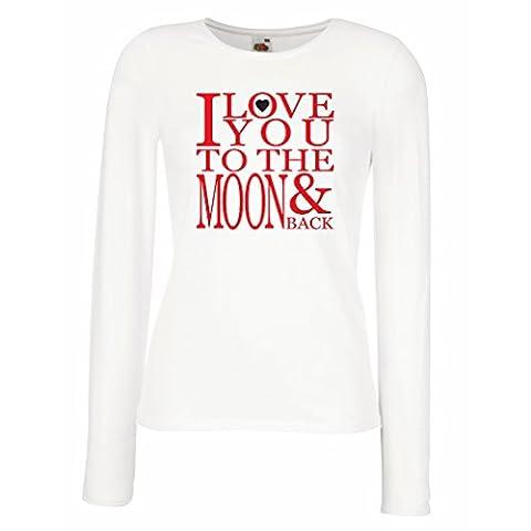Manches longues Femme T-shirt Je t'aime à la lune et