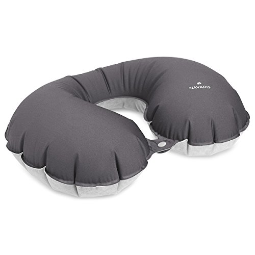 Navaris almohada de viaje inflable - almohada cervical suave para inflar - cojín de descanso para cuello - travel pillow en gris