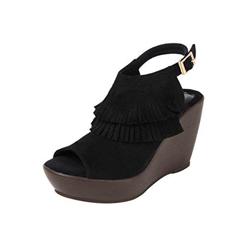 Catwalk Black Wedges Heel Sandals at amazon