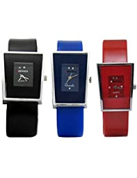 Freny Exim Sophisticated Set Of 3 Black Blue And Red Square Dial Soft Strap Analog Women Watches For Girls