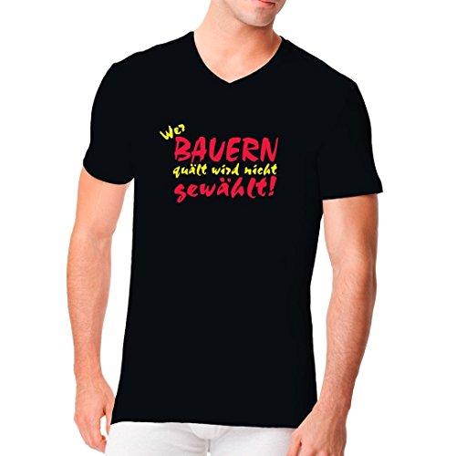 Fun Sprüche Männer V-Neck Shirt - Wer den Bauern Quält ... by Im-Shirt Schwarz