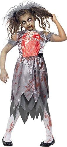 Smiffys Kinder Zombie Braut Kostüm, Kleid mit bedrucktem Brustteil und Schleier, Größe: L, 43027 (Kind Zombie Kostüm Ideen)
