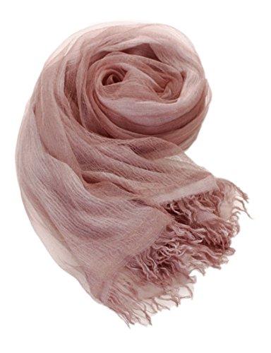 Prettystern - seta e cotone a doppia palla 190cm casual lavato foulard sciarpa feste & tempo libero - 11. abbronzatura