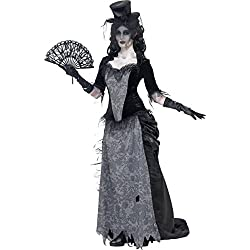 Smiffy's Smiffys-24575M Disfraz de Viuda Negra de Ghost Town, con Parte de Arriba, Falda y sombrer, Color Gris, M - EU Tamaño 40-42 24575M