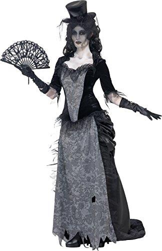 Smiffys Damen Geister Schwarze Witwe Kostüm, Oberteil, Rock und Hut, Größe: M, 24575 (Teenager Schwarze Witwe Kostüm)