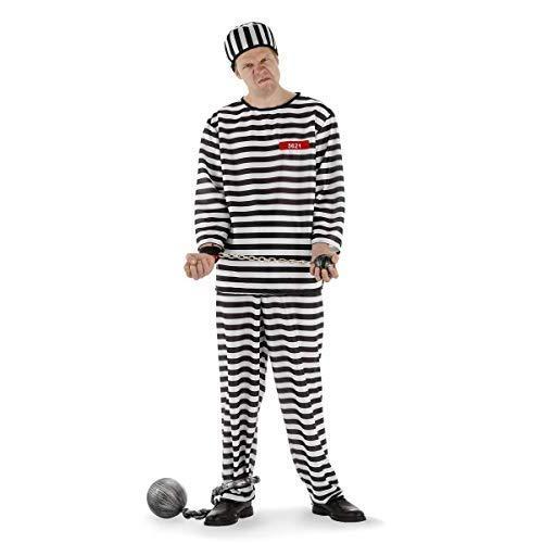 Folat 21978 Herren Sträfling Kostüm Verkleidung-Gefangener-Design Anzug 3-teilig-Adult M - Herren Gefangener Kostüm