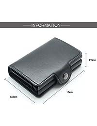 Billetera hombre,billetera,billeteras,Caja de aluminio doble automática de la caja de la identificación por radiofrecuencia, paquete de la tarjeta de cuero