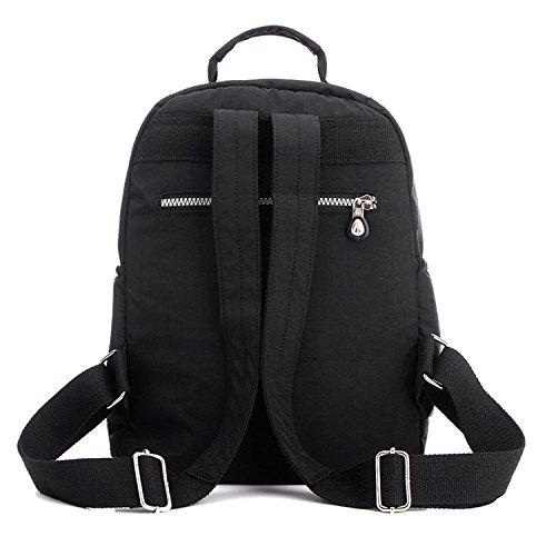 Outreo Rucksack Schul Daypack Leichter Rucksäcke Damen Schultaschen Lässige Tasche Schulrucksack Wasserdicht Reisetasche Backpack für Sport Schwarz