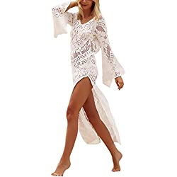 Vestidos Playa Mujer Elegantes Moda Hippies Encaje Vestidos Largos Casual Manga Larga Trompeta Manga V Cuello Espalda Descubierta Con Aberturas Bikini Cover Up Pareos Playa