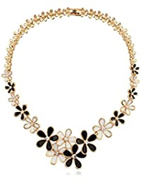 NEVI Czech Crystals Champagne Gold Plated Floral Chain Necklace For Women Western Party Wear Jewellery