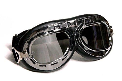 Motorradbrille Classic, schwarz mit getönten Gläsern