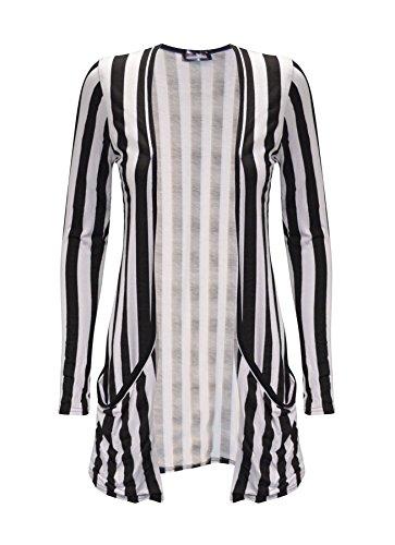 Dames femmes à manches longues poche ouverte avant Boyfriend taille Cardigan Top Plus 36-50 Stripe