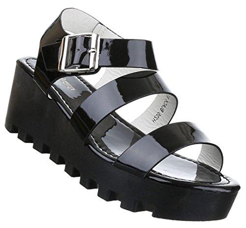 Damen Sandalen Schuhe Dianetten Plateau Damenschuhe Keilabsatz Wedges Schwarz Beige Rot Weiss 36 37 38 39 40 41 Schwarz