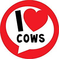I Love Cows Farmer Sticker Labels (24 Stickers, 4.5cm Each) NON PERSONALISED Seals Ideal for Party Bags, Sweet Cones, Favours, Jars, Presentations Gift Boxes, Bottles, Crafts