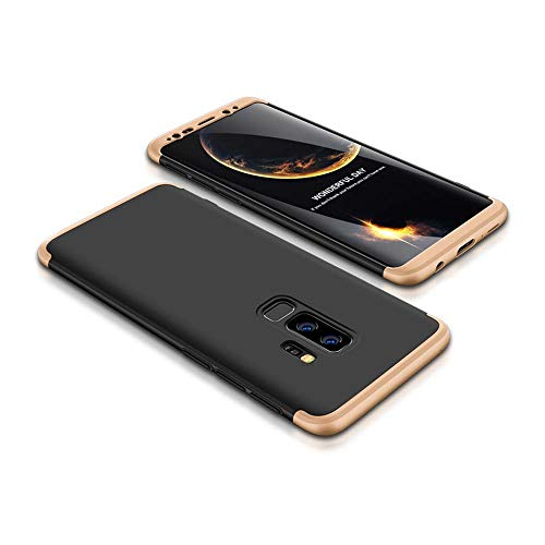 cmdkd Galaxy S9 Plus Case, 360 Degree Protection 3 in 1 Slim PC Cover Shockproof Shell Full Body Coverage Hard Protective Case + Tempered Glass Screen Protector for Galaxy S9 Plus Gold Black
