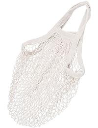 ELECTROPRIME Long Handle White Reusable String Shopping Grocery Bag Shopper Tote Mesh Bag