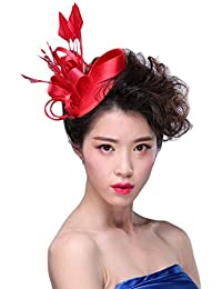 EOZY-Mini Fascinator Cappello da Cerimonia Donna Capelli Decorazione Clip  Piume Raso d8a511c02087