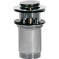 Tres Griferia 13454110, Válvula Lavabo con Rebosadero, Tapón Ø 37 mm Click-Clack, Cromo
