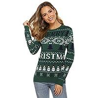 Hawiton dames pullover met Scandinavisch patroon Noors trui Kersttrui gebreide trui Scandinavisch breipatroon pullover voor herfst winter