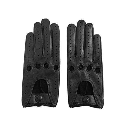 Matsu Damen Fahrerhandschuhe Classic, Lammleder, für Rivets DIY M9237 Gr. S, Black-9507 (Hut Echt Fahren Leder)