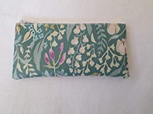 Handmade Oilcloth Tampon Case Holder - Green Kelmscott Floral Fabric