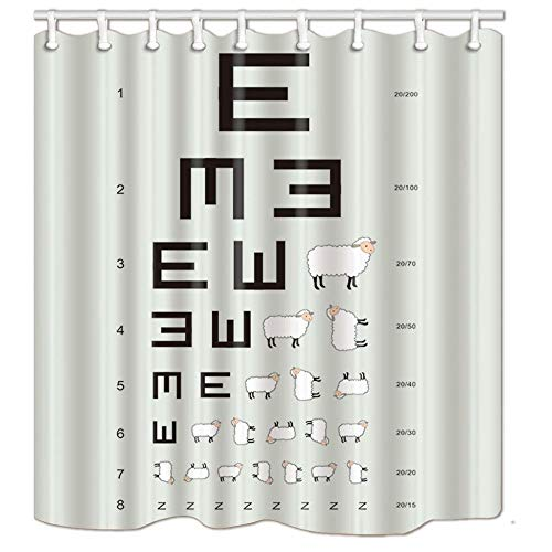 AdaCrazy Kids Decor Lustige Eye Vision Chart Ziege Schaf Symbol Für Bildung Entworfene Muster Duschvorhang 3D Druck Wasserdicht beschichtetes polyestergewebe Badezimmer mit 12 Haken 71 Zoll -