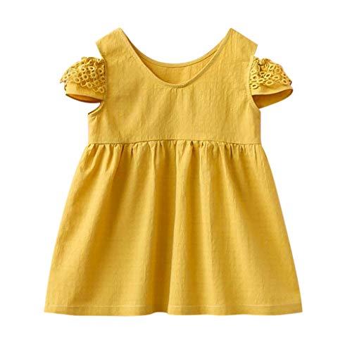 feiXIANG Mädchen Kleid Schulterfrei Kurzarm Dress Sommer Partykleider Kind Baby Kostüm Strandkleider ()